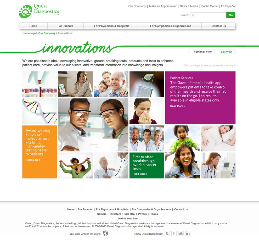 Innovations Landing Page