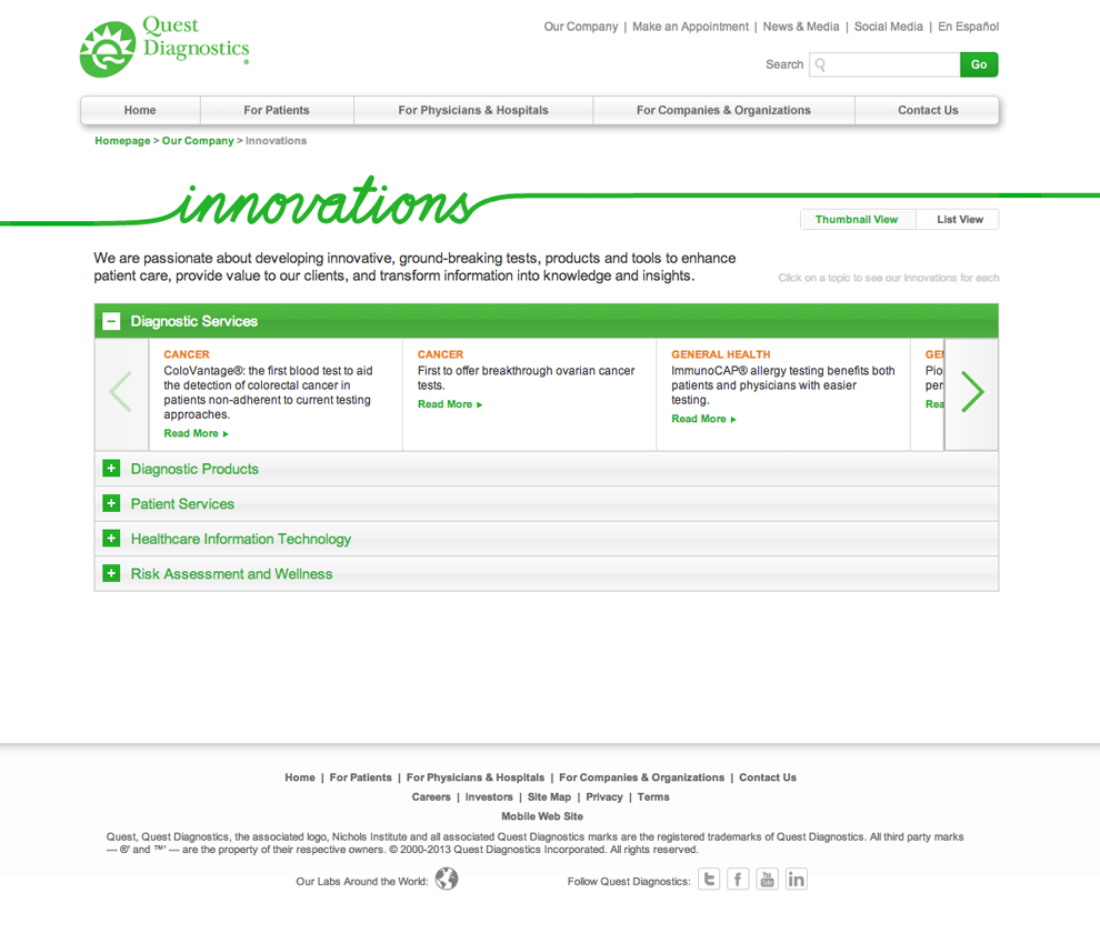 Innovations List view